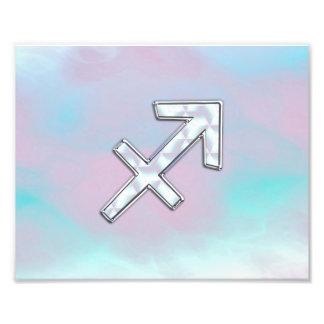 Sagittarius Zodiac Sign on Mother of Pearl Style Photo Print