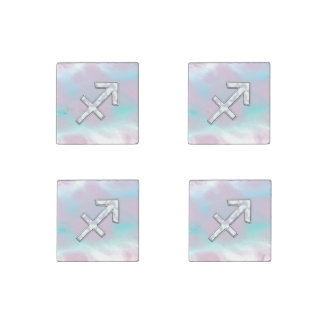Sagittarius Zodiac Sign on Mother of Pearl Style Stone Magnet