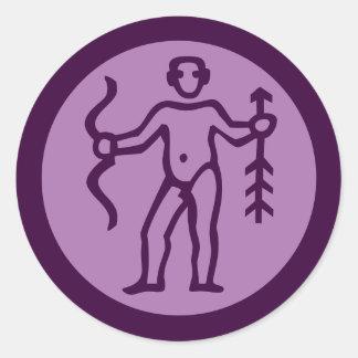 Sagittarius Zodiac Sign Purple Round Sticker