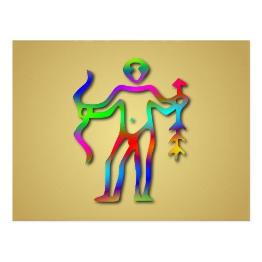 Sagittarius Zodiac Star Sign Rainbow Postcard