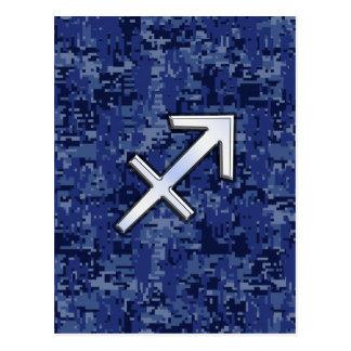 Sagittarius Zodiac Symbol NavyDigital Camouflage Postcard