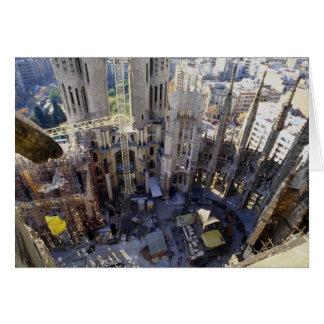 Sagrada familia, aerial, Barcelona, Spain Card