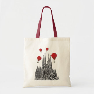 Sagrada Familia and Red Hot Air Balloons 2