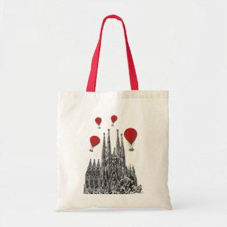 Sagrada Familia and Red Hot Air Balloons 2 Budget Tote Bag