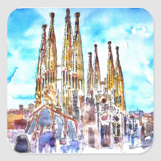 Sagrada Familia Barcelona Square Sticker