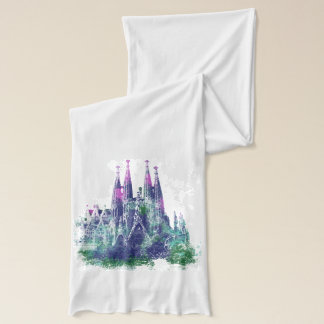 Sagrada Familia Barcelona  Watercolor design Scarf