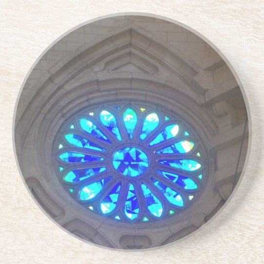 Sagrada Familia Blue Stained Glass Drink Coasters