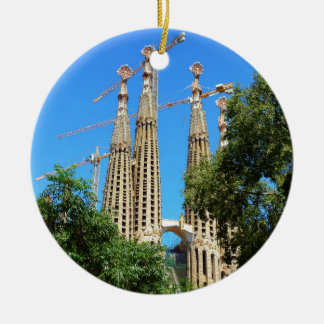 Sagrada Familia church in Barcelona, Spain Round Ceramic Decoration