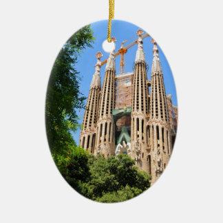 Sagrada Familia in Barcelona, Spain Ceramic Oval Decoration