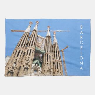 Sagrada Familia in Barcelona, Spain Tea Towel