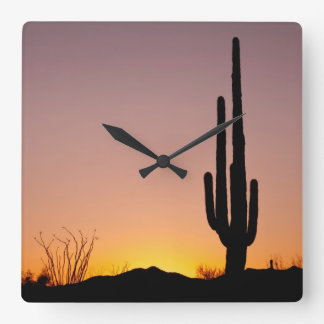Saguaro Cactus at Sunset Square Wall Clock