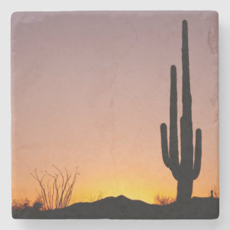 Saguaro Cactus at Sunset Stone Coaster