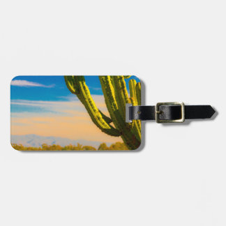 Saguaro Cactus Old West Painting Luggage Tag
