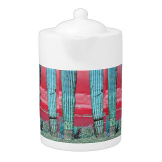 Saguaro Pillar in Red Sky & Turquoise Tea Pot
