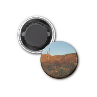 Saguaro Sunset I Arizona Desert Landscape 3 Cm Round Magnet