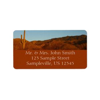 Saguaro Sunset I Arizona Desert Landscape Address Label