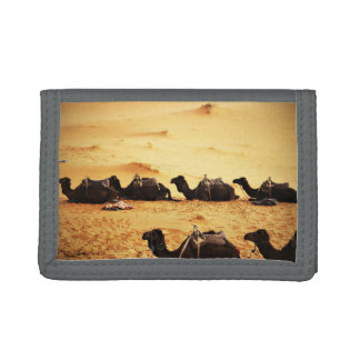 Sahara Themed, Lineup Of Camels In Golden Sand Sah Trifold Wallets