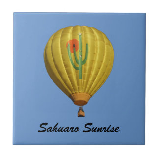 Sahuaro Sunrise Hot Air Balloon Tile with Name