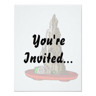 Saikei Cliff in Red Pot Bonsai Graphic 4.25x5.5 Paper Invitation Card