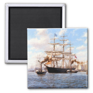 Sail and steam in port square magnet