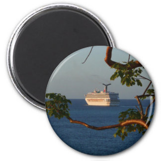 Sail Away at Sunset I Cruise Vacation Photography 6 Cm Round Magnet