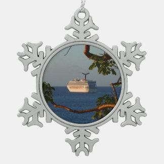 Sail Away at Sunset I Cruise Vacation Photography Pewter Snowflake Decoration