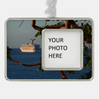 Sail Away at Sunset I Tropical Vacation Silver Plated Framed Ornament