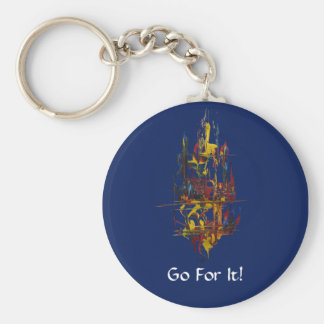 Sail Away-Go For It-Blue Basic Round Button Key Ring