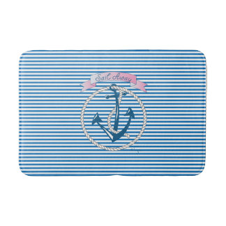 """Sail Away"" Nautical Anchor, Rope, Stripes,Modern Bath Mat"