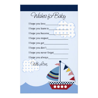 Sail Away/Nautical/Boat #2 Wishes for Baby Letter Stationery