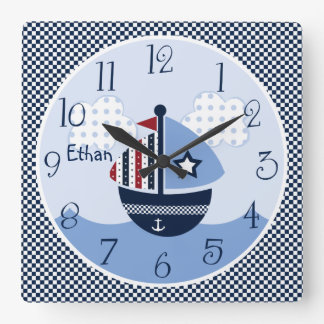 Sail Away/Nautical/Boats Kid's Baby Nursery Clock