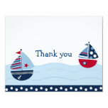 Sail Away Sailboat Nautical Thank You Note Cards Personalised Announcements