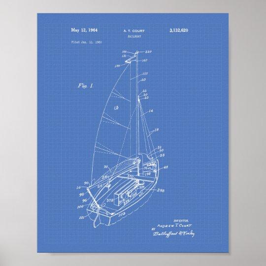 Sail Boat 1964 Patent Art Blueprint Poster