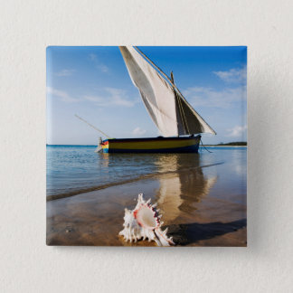 Sail Boat And Shell | Mozambique, Benguerra Lodge 15 Cm Square Badge