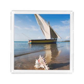 Sail Boat And Shell | Mozambique, Benguerra Lodge Acrylic Tray
