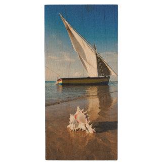 Sail Boat And Shell | Mozambique, Benguerra Lodge Wood USB Flash Drive