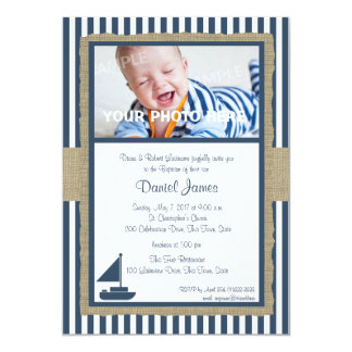 Sail Boat and Stripes Rustic Nautical Baptism 13 Cm X 18 Cm Invitation Card