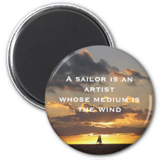 Sail boat at sunset 6 cm round magnet