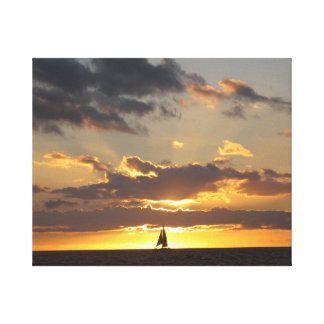 Sail boat at sunset canvas print
