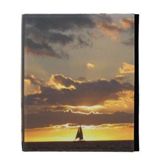 Sail boat at sunset iPad folio covers