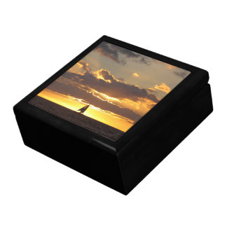 Sail boat at sunset gift box