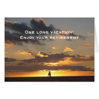 Sail boat at sunset greeting card