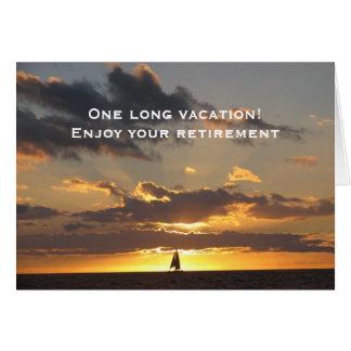 Sail boat at sunset greeting card