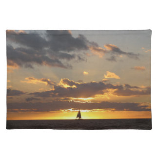 Sail boat at sunset placemat