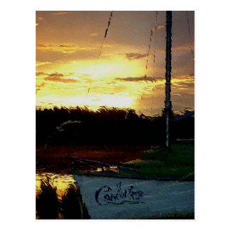 Sail boat at sunset postcard