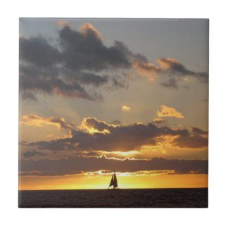Sail boat at sunset tile