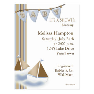 Sail Boat Baby Shower Postcard Invitation
