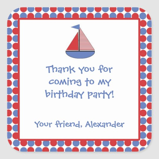 Sail Boat Birthday Party Favour Sticker Red Blue