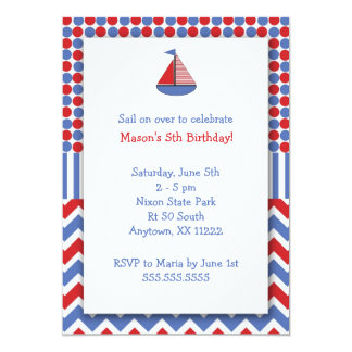 Sail Boat Birthday Party invite / red white blue