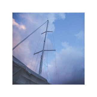 Sail boat in port canvas print